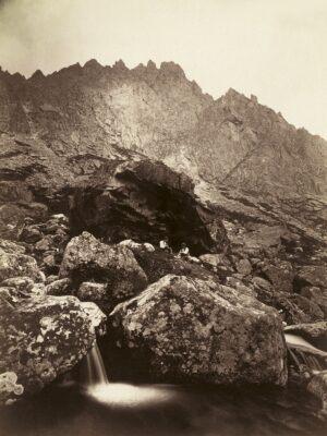 Tatry, Łomnicka Koleba w Dolinie Małej Zimnej Wody. Nad nią urwiska Łomnickiej Grani, Karol Divald, ok. 1873